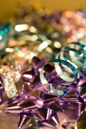 Shimmering Christmas Wrapping and Decorations, with carefull depth of field and focus on elements makes for interesting mood of shot. photo