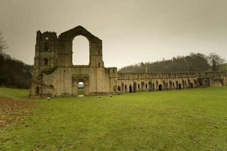 Views in and around Fountains Abbey in North Yorkshire, old broken down abbey and surounding grounds