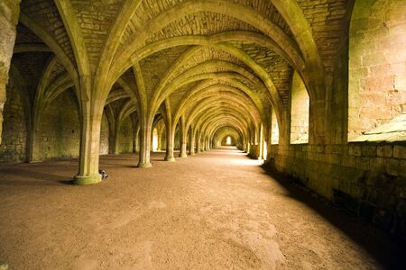 Vaulted ceilings in Fountains Abbey in North Yorkshire, shot with natural lighting from Tripod with 10-20mm lens. Old broken down abbey and surounding grounds. Ancient Gothic arches
