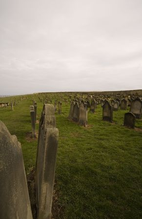 whitby: Gothic grave stone at whitby Stock Photo