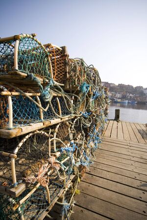 lobster pot: Lobster Fishing at the dock at Whitby, selective focus
