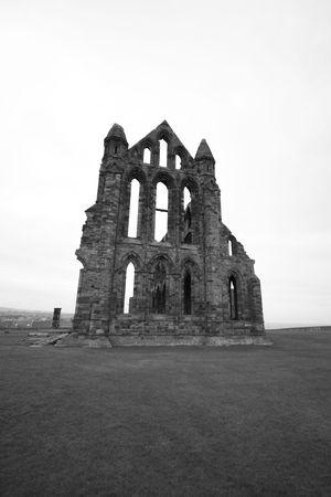 Historic Whitby Abbey in Black & White Stock Photo