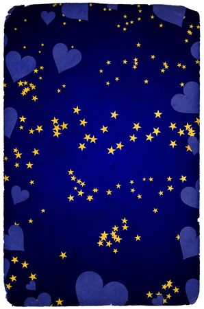 Greetings card background with stars and hearts photo