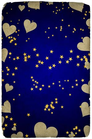 Greetings card background with stars and hearts Stock Photo - 3919489