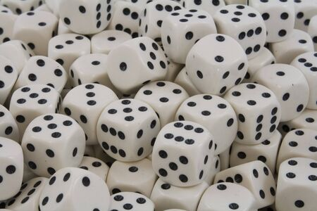 Multiple White dice with Black spots Stock Photo