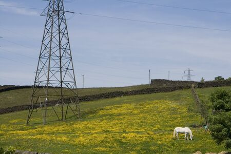 Summer Landscape in West Yorkshire with pylons and green fields. Stock Photo