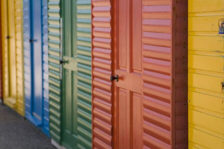 Colourfull painted beach huts at Whitby, North Yorkshire, UK
