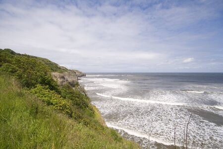 Green headland in summer seascape, view from Sandsend in North Yorkshire.