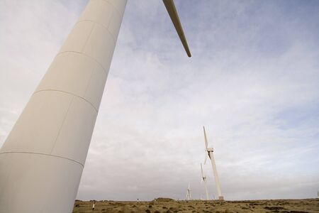 Windfarm Wind turbines Eco power, Environmentally friendly renewable energy. Shots taken at a UK location.