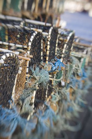 Lobster Pots shot with lensbaby, sweetspot focus on fishing industry items.