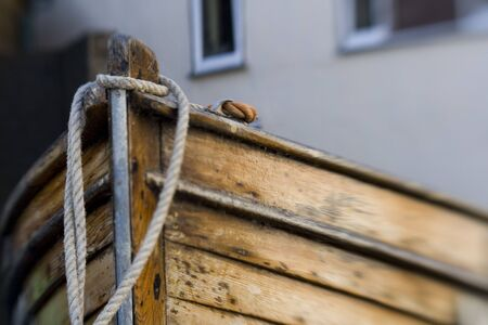 lensbaby shot with selective sweetspot focus on the Bow of a small fishing boat. Stock Photo