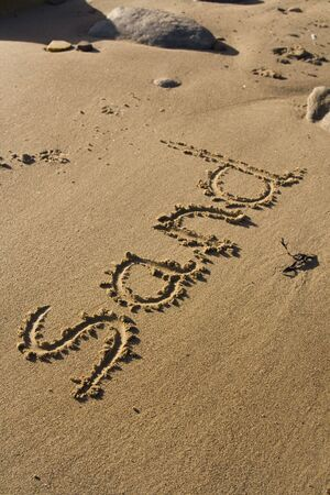 Writing in the Sand with the word 'Sand' Stock Photo - 4794375