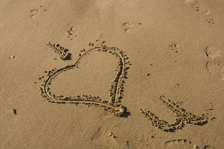 Writing in the Sand, with I heart you photo