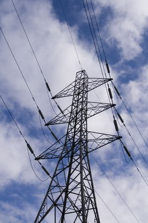 Structure of Electricity Pylon, power lines.