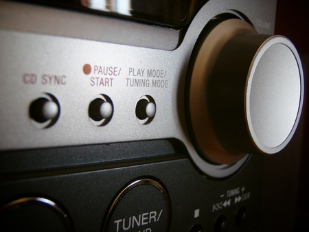 A close up of the face of a radio