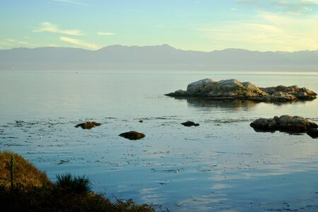 strait of juan de fuca: The Olympic mountains in Washington State, taken from the Canadian side Stock Photo