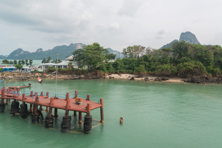 thani: View to the ferry port in Donsak in Surat Thani province, Thailand.