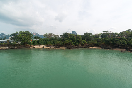 surat: View to the ferry port in Donsak in Surat Thani province, Thailand.