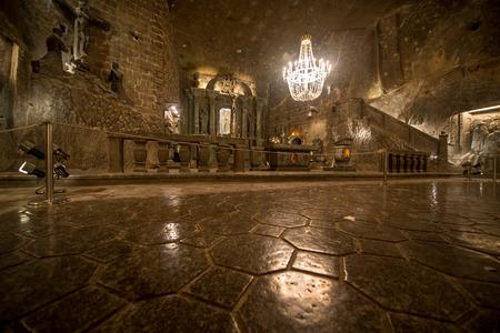 Chapel in the main hall in the Wieliczka Salt Mine (13th century), one of the worlds oldest salt mines. Wieliczka, Poland.