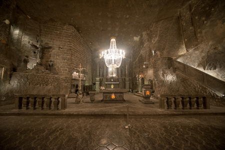Chapel in the main hall in the Wieliczka Salt Mine (13th century), one of the worlds oldest salt mines. Wieliczka, Poland.