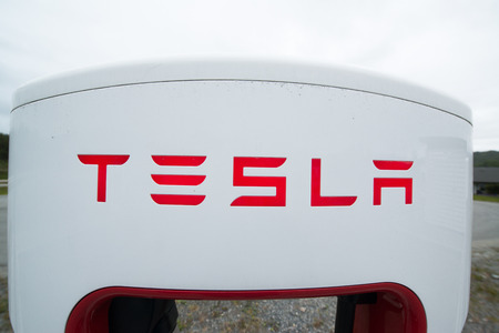 musk: TINGVOLL, NORWAY - CIRCA JUNE, 2016: Tesla charging stations are located throughout EU to accommodate owners of the electric car.