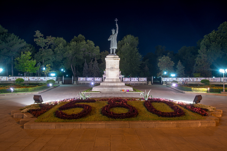 Stephen the Great Monument at night in Chisinau, Moldova