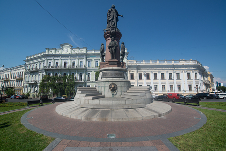 founders: Odessa, Ukraine, circa august 2016: Monument to Empress Catherine, who issued a decree established a city Odessa