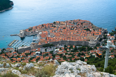 unesco: Aerial view of old city Dubrovnik in a beautiful summer day, Croatia