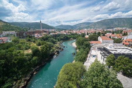 Mostar, Bosnia and Herzegovina, circa july 2016: View from the mosque in Mostar, Bosnia and Herzegovina