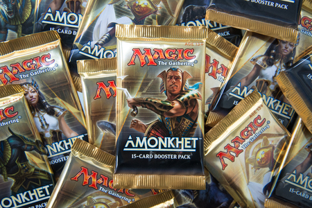 Bratislava, Slovakia, June 1, 2017: Magic the Gathering Booster packs with Amonkhet in the front Editorial