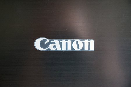 Los Angeles, USA, july 13, 2017: Canon logo on printer
