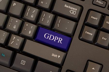 Regulación general de protección de datos (GDPR) en el botón de teclado Foto de archivo - 88168307