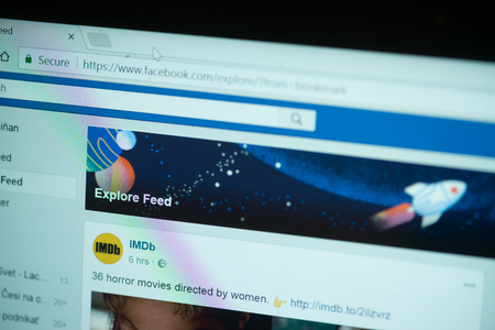 San Francisco, october 10, 2017: New second facebook timeline explore feed on laptop screen