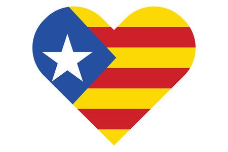 Estelada Blava, bandera de Cataluña en forma de corazón