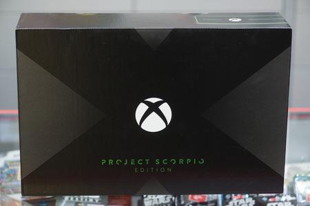 London, november 6, 2017: New Xbox One X Project Scorpio Edition console box