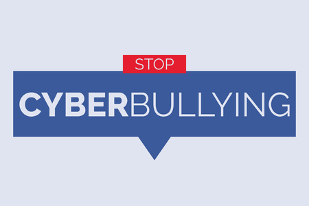 Cyberbullying banner isolated on light blue background. Illustration
