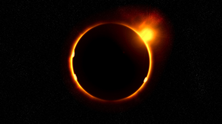 Sun eclipse in space illustration Stock Photo