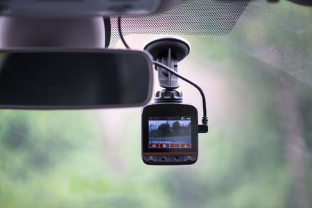 Dash camera in car Banco de Imagens