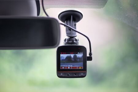 Dash camera in car Banque d'images