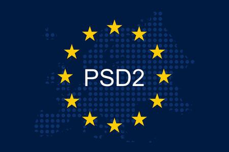 Payment Services Directive 2 (PSD2) on European Union Flag. Çizim
