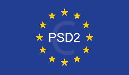 Payment Services Directive 2 (PSD2) on European Union Flag. Иллюстрация