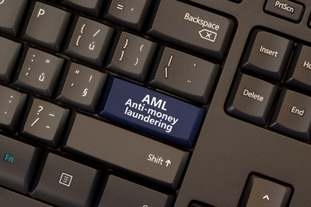 Anti-money laundering concept on keboard button (AML)