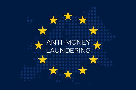 Anti-money laundering concept on european union flag (AML) Stock Photo