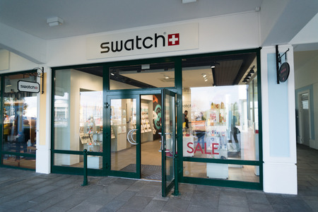 Parndorf, Austria, february 15, 2018: Swatch store in Parndorf, Austria. Swatch is a Swiss watchmaker founded in 1983 by Nicolas Hayek