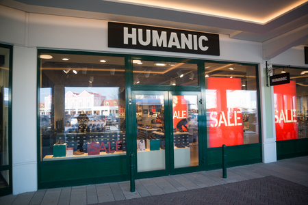 Parndorf, Austria, february 15, 2018: Humanic store in Parndorf, Austria. In 1907, the American Shoe House Humanic opened its first two stores in Vienna.