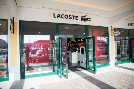 Parndorf, Austria, february 15, 2018: Lacoste store in Parndorf, Austria. Lacoste is a French clothing company, founded in 1933 by tennis player Ren Lacoste and Andr Gillier.