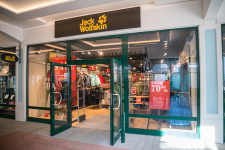 Parndorf, Austria, february 15, 2018: Jack Wolfskin store in Parndorf, Austria. Jack Wolfskin is a major German producer of outdoor wear and equipment headquartered in Idstein.