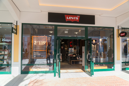 Parndorf, Austria, february 15, 2018: Levis store in Parndorf, Austria. Levi Strauss & Co. is a privately held American clothing company known worldwide for its Levis jeans