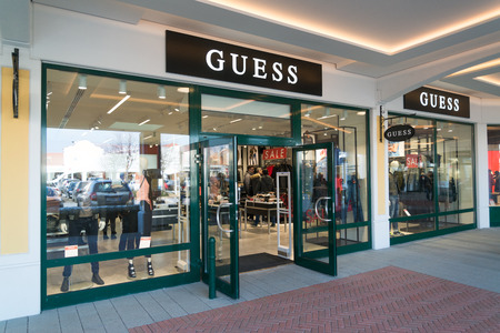 Parndorf, Austria, february 15, 2018: Guess store in Parndorf, Austria. Guess is an American clothing brand and retailer founded in 1981.