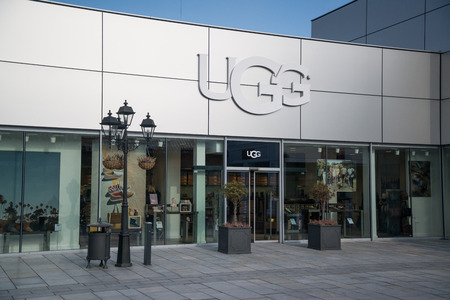 Parndorf, Austria, february 15, 2018: UGG store in Parndorf, Austria. UGG is an American footwear company and a division of Deckers Brands founded in 1978 by Brian Smith store. Editorial